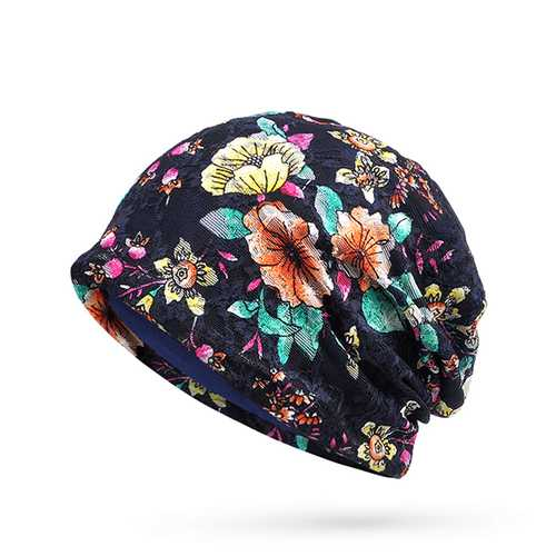 Women Lace Jacquard Beanie Hat Fashion Warm Flower Print Caps