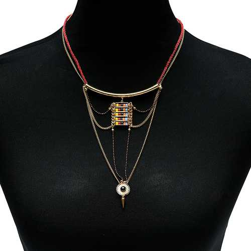 Bohemian Multicolor Beads Chain Environmental Plating Multilayer Necklace for Women
