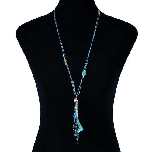 Bohemian Green Crystal Beads Pendant Chain Feather Tassel Long Necklace for Women