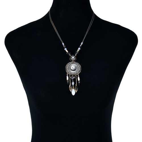 Bohemian Leaf and Flower Tassel Pendant Chain Quartz Necklace Women Jewelry