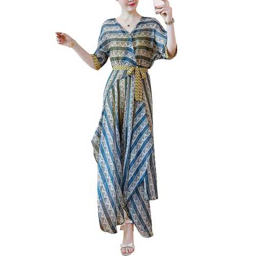 Bohemian Floral Printed V-neck Irregular Hem Dresses For Women