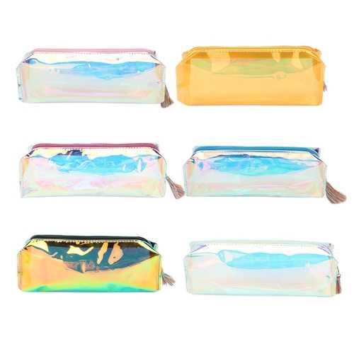 1pcs Colorful Laser Transparent Materials Pencil Case Storage Pen Bags Pouch School Supplies Gift