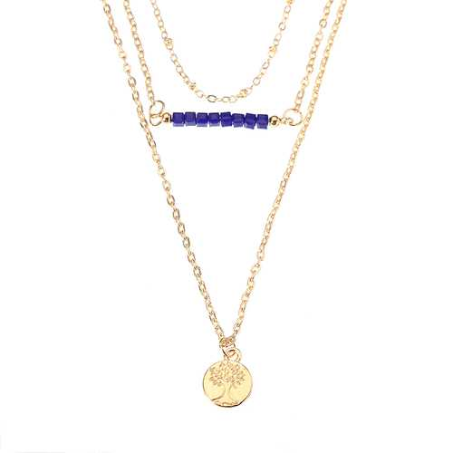 Vintage Tree of Life Pendant Necklace Gold Multilayer Chain Women's Jewelry