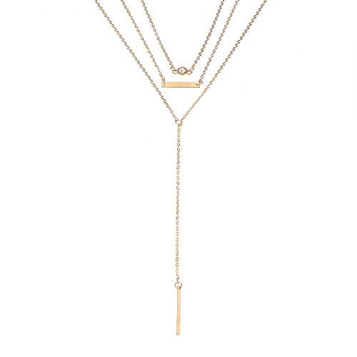 Elegant Crystal Zinc Alloy Necklace Simple Multilayer Chain for Women