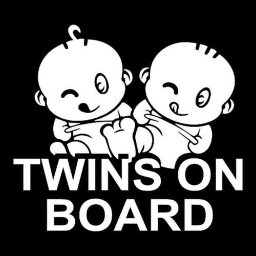 15x14cm Twins on Board Warning Reflective Car Stickers Auto Truck Vehicle Motorcycle Decal