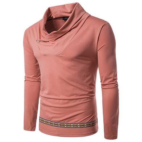 Fashion National Style Printed Hem T-shirt Men's Heap Collar Long Sleeve Tops Tees
