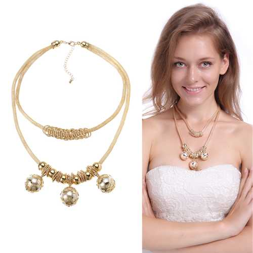 Bohemian Trendy Gold Artificial Pearl Hollow Figure Alloy Shining Necklace Party Gift for Women
