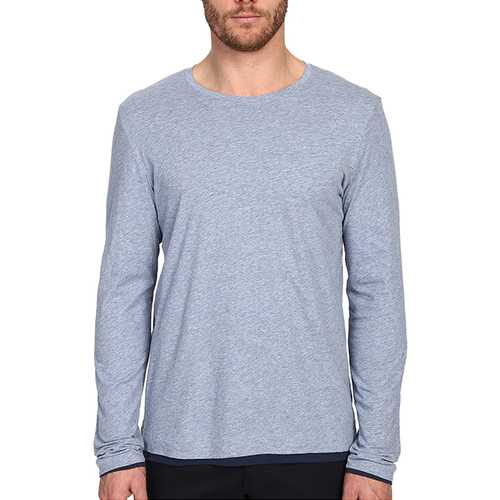 Men's Casual Solid Color Cotton Bottoming Tops Fashion Round Neck Long Sleeved T-shirt