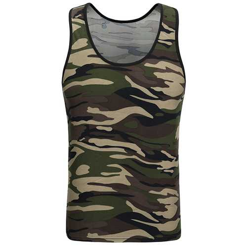Men's Camouflage Sleeveless Fitness Vest Casual Training Jogging Sport Tank Tops