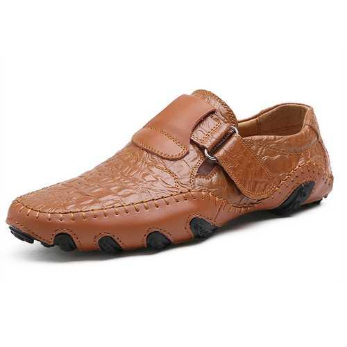 Big Size Men Hook Loop Genuine Leather  Oxfords Shoes