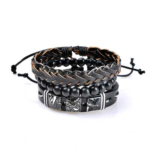 3 Pcs Wholesale Men's Bracelet Vintage Punk Bead Woven Leather Bangle Wristband Unisex