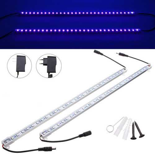 2PCS 50CM 5050 SMD UV Purple LED Strip Aluminum Tube Bar Light + Power Supply