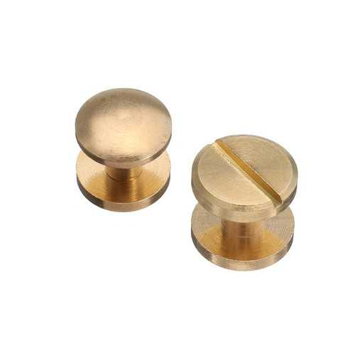 10pcs Pure Copper Flat Belt Screw Flat Head Nails Dumbbell Buckle for Leather Craft DIY