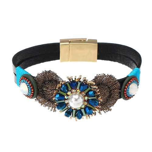 Bohemian Bracelet Gold Plated Flower Charm Leather Bangle Boho Jewelry for Women Girl Gift