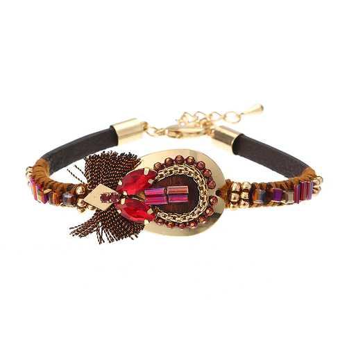 Bohemian Bracelet Luxury Gold Plated Leather Bangle Women Boho Jewelry Unique Gift