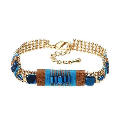 Bohemian Bracelet Gold Plated Blue Glass Bead Thread Charm Adjustable Bangle Boho Jewelry for Women
