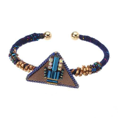 Bohemian Women Bracelet Punk Blue Bead Inlay Leather Triangle Charm Gold Plated Woven Boho Bangle