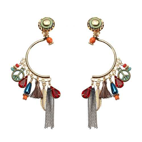 Bohemian Earrings Luxury Gold Plated CND Peace Symbol Drop Tassel Pendant Ear Clip Gift for Women