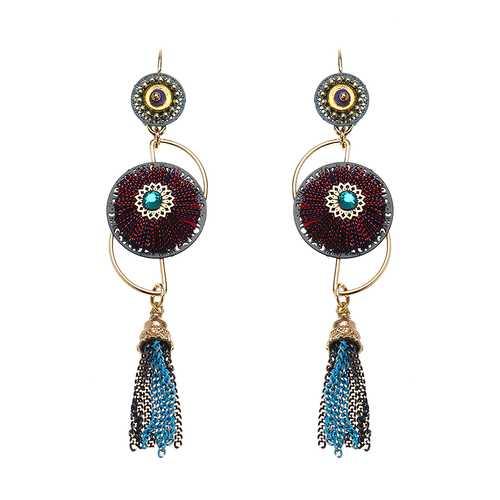 Bohemian Earrings Luxury Gold Plated Flower Charm Tassel Pendant Ear Drop Boho Jewelry for Women