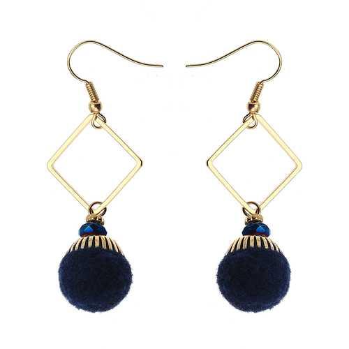 Bohemian Earrings Gold Plated Simple Rhombus Yarn Ball Pendant Ear Drop Boho Jewelry for Women