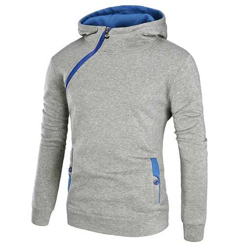 Men's Casual Solid Color Sport Hoodies Fashion Side Zipper Thick Long Sleeve Hooded Sweater