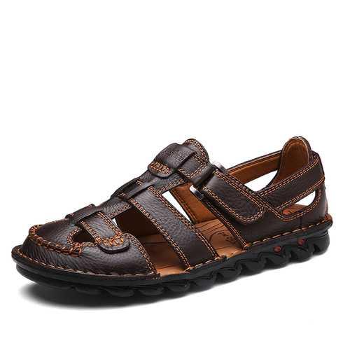 Men Breathable Hook Loop Genuine Leather Sandales