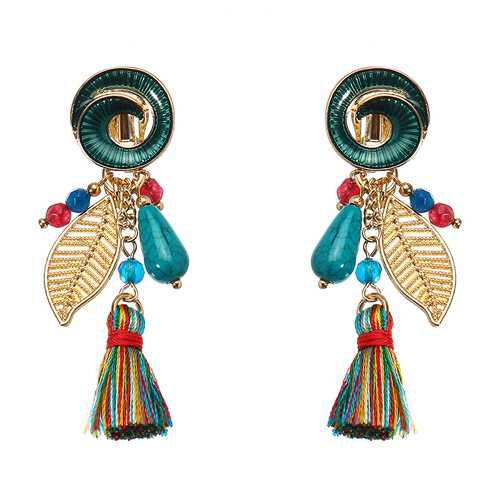 Bohemian Earrings Rainbow Tassel Leaf Pendant Conch Charm Exquisite Gold Plated Boho for Women