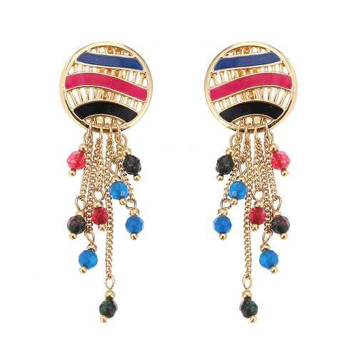 Women Bohemian Earrings Gold Plated Round Charm Tassel Colorful Bead Pendant Ear Clip Boho Jewelry