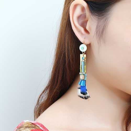 Bohemian Gold Plated Gemstone Feather Pendant Earring