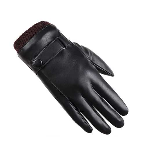 Men Women Full Finger PU Leather Gloves Thick Winter Warm Cycling Driving Windproof Mittens