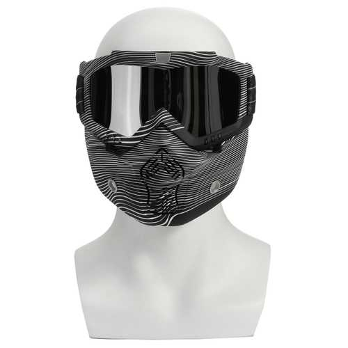 Detachable Modular Mask Shield Goggles Full Face Protect For Motorcycle Helmet Silver Clear