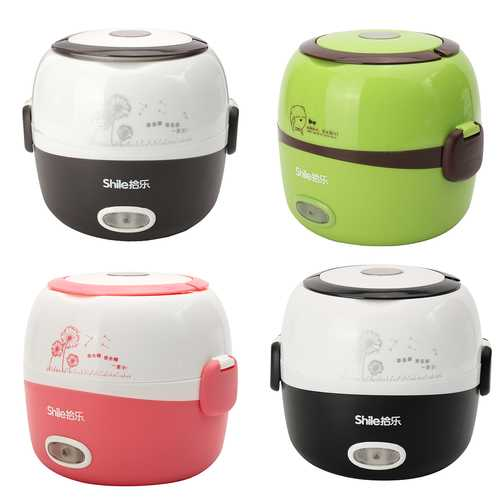 1.3L Electric Portable Lunch Box Rice Cooker Steamer 2 Layer Stainless Steel Container Food