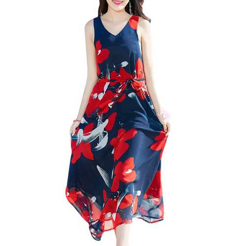 Bohemian Chiffon Women V-Neck Printed Sleeveless Maxi Dress