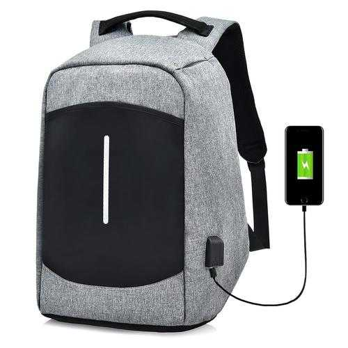"Men Canvas Multifunction Sport Bag Casual Anti Theft 17"" Backpack with USB Charging Port"