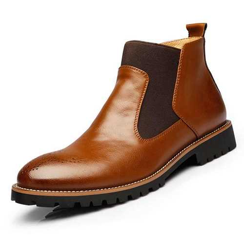 Men Comfortable Genuine Leather Elastic Band Ankle Boots