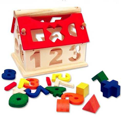 New Kid Wooden Digital Number House Building Toy Educational Intellectual Blocks