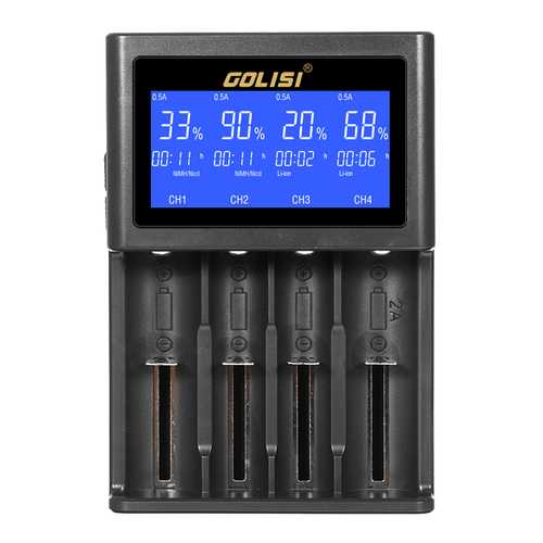 Golisi S4 HD LCD Display Smart Li-ion Ni-cd/Ni-md/AAA/AA Battery Charger