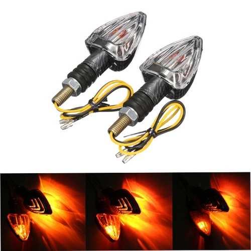 2X Motorcycle Turn Signal Lamp Motor Bike E-marked Carbon Mini Arrow Indicators Light Bulb 12V
