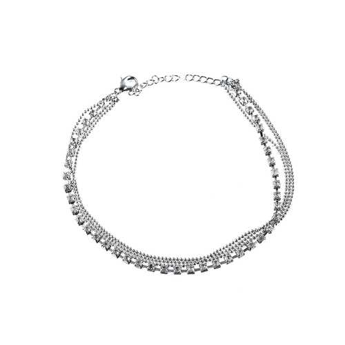 Women's Luxury Silver Multilayer Rhinestone Anklet