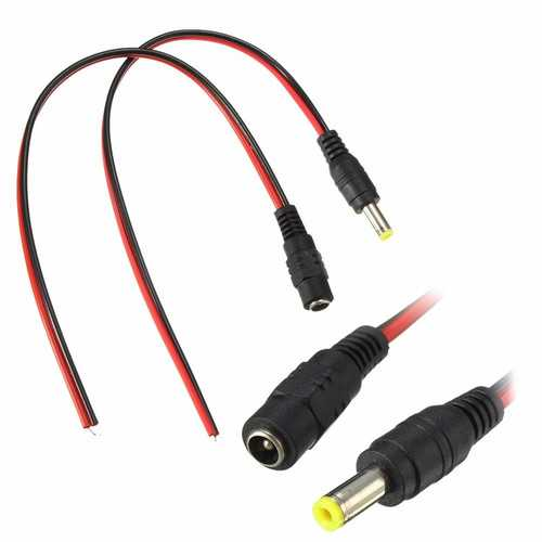 LUSTREON DC12V Male/Female Power Supply Jack Connector Cable Plug Cord Wire 5.5mm x 2.1mm
