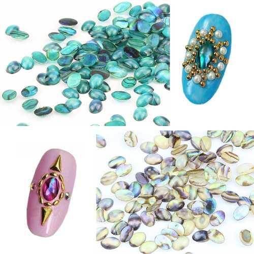 10pcs Natural Shell Gem Nail Art 3D Decoration Rhinestones UV Gel DIY Acrylic Manicure Studs Design