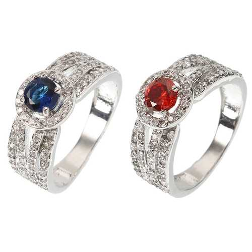 Elegant Women Ring Luxury White Gold Plated Sapphire Ruby Anallergic Wedding Bridal Ring Best Gift