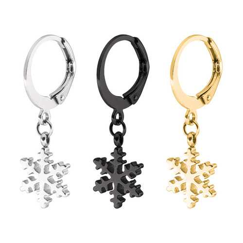 1 Piece Titanium Steel Earrings Black Silver Gold 316L Stainless Steel Snowflake Men Women Jewelry