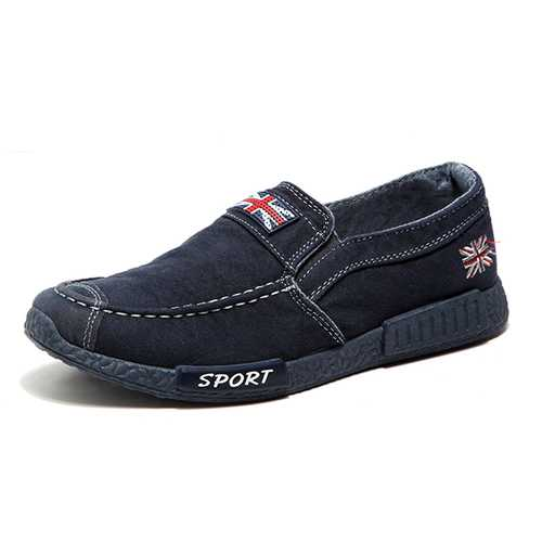 Men Breathable Denim Slip On Casual Flats Loafers