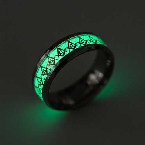 Punk Stainless Steel Luminous Ring Cool Men's Ring Jewelry for Unisex