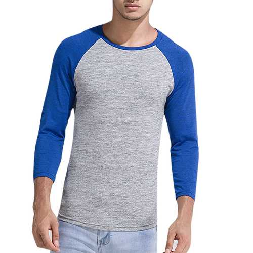 Men's Casual Hit Color O-neck Collar Tee Polyester Slim Men's Sport T Shirts