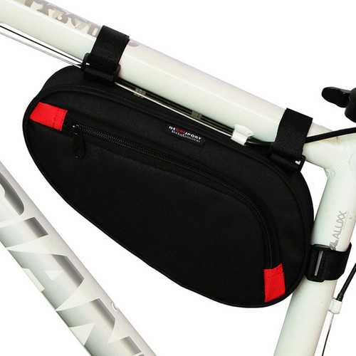 BIKIGHT Polyester Black Bicycle Front Tube Triangle Storage Pouch Frame Bag