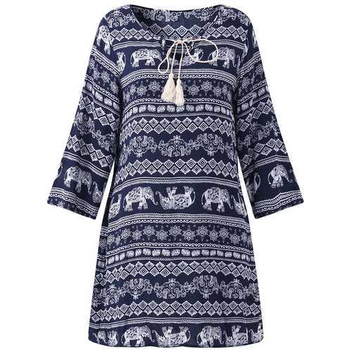 Bohemian V-neck Floral Print Dress