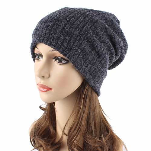 Women Casual Autumn Warm Knitting Hat Outdoor Solid Skullies Beanies Cap