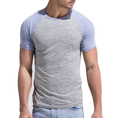 Leisure Patchwork Color Slim Fit Sport T-shirt Men's Outdoor Brief Style Round Neck Short Sleeve Top